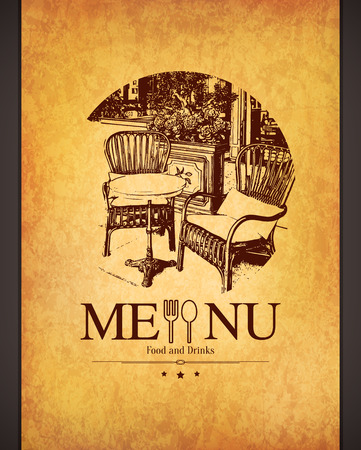 menu design: Retro restaurant menu design. With a sketch picture Illustration