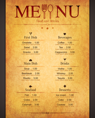 speisekarte: Menü für Restaurant, Café, Bar, Kaffeehaus Illustration