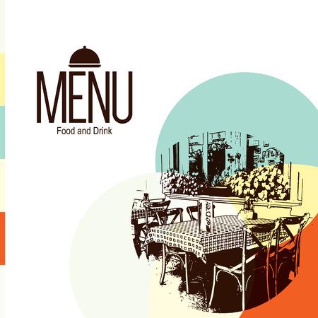 Retro restaurant menu design. With a sketch picture Vettoriali