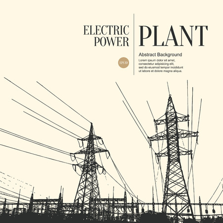 electricity pole: Abstract sketch stylized background. Electric power plant Illustration