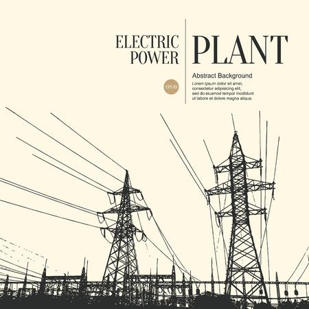 electricidad: Resumen boceto fondo estilizado. Planta de energía eléctrica