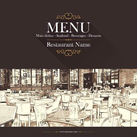 carta de postres: Diseño del menú del restaurante retro. Con unas imágenes de croquis