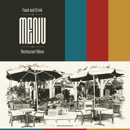 postres: Diseño del menú del restaurante retro. Con unas imágenes de croquis