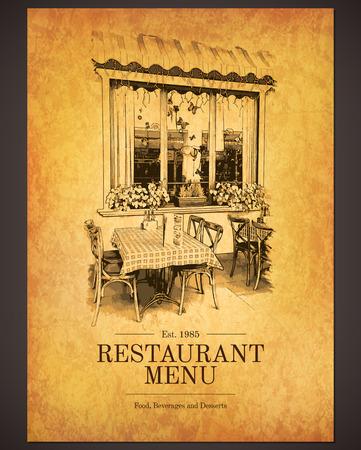 ristorante: Retro menu design ristorante. Con le immagini schizzo