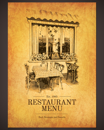 menu design: Retro restaurant menu design. With a sketch pictures