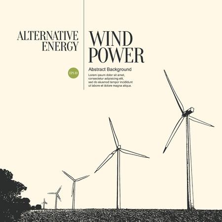 powerplant: Abstracte schets gestileerde achtergrond. Elektriciteitscentrale en windturbines