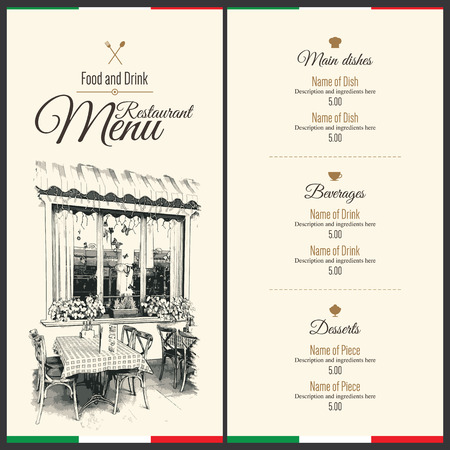 restaurant dining: Retro restaurant menu design. With a sketch pictures