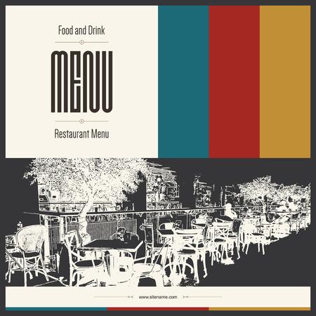 menu design: Retro restaurant menu design. With a sketch pictures