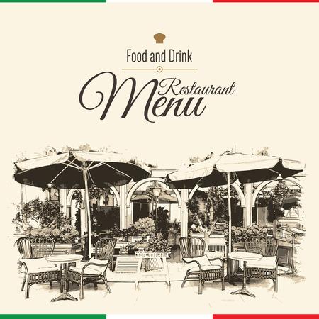 bocetos de personas: Diseño del menú del restaurante retro. Con unas imágenes de croquis