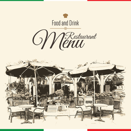menu restaurant: Retro restaurant menu design. With a sketch pictures
