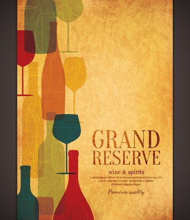 barra de bar: Diseño de la lista de vinos Vectores
