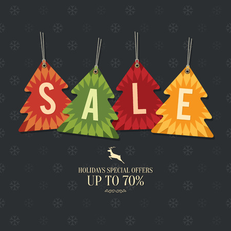 sell: Retail Sale Tags and Clearance Tags. Festive christmas design