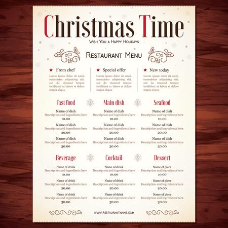 El diseño especial del menú festivo de Navidad