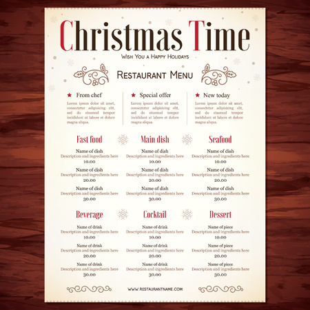 menu icon: Special Christmas festive menu design Illustration