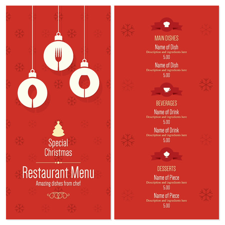 restaurant dining: Special Christmas festive menu design Illustration