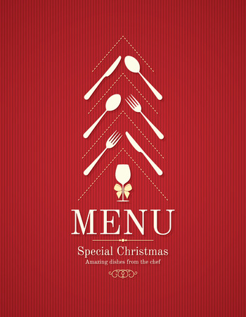 restaurant food: Special Christmas festive menu design Illustration