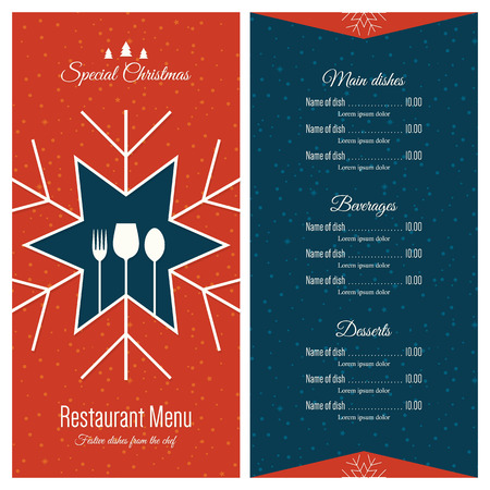food menu: Special Christmas festive menu design Illustration