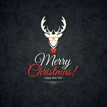 renna: Natale e Capodanno. biglietto d'auguri