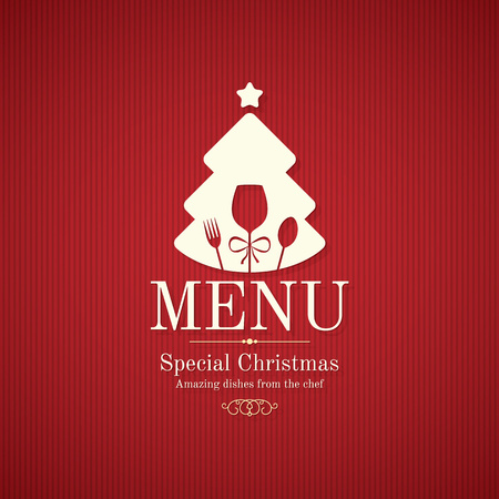 food and drink holiday: Special Christmas festive menu design Illustration