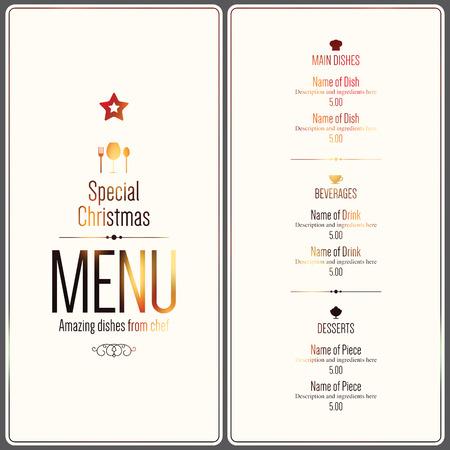 Special Christmas festive menu design Vettoriali