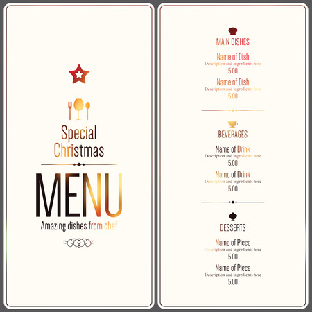 menu card design: Special Christmas festive menu design Illustration