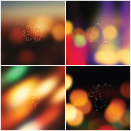 christmas backgrounds: Set of 4 Christmas icon and bright blurred backgrounds