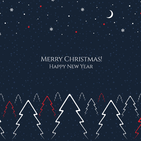 vector greeting card: Christmas and New Year. Vector greeting card Illustration