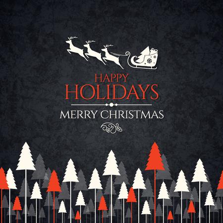 renna: Natale e Capodanno. Vector greeting card