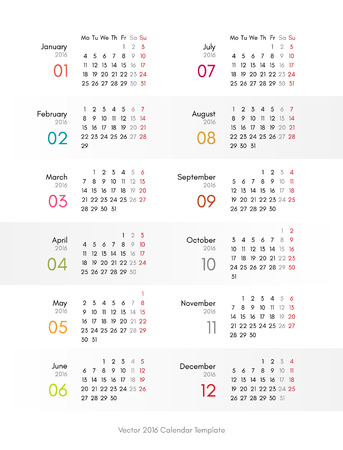 looseleaf: Vector 2016 calendar template