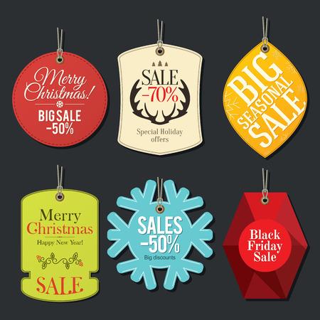 Retail Sale Tags und Räumungs Schlagwörter. Festlichen Weihnachtsentwurf