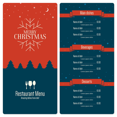 christmas drink: Special Christmas festive menu design Illustration