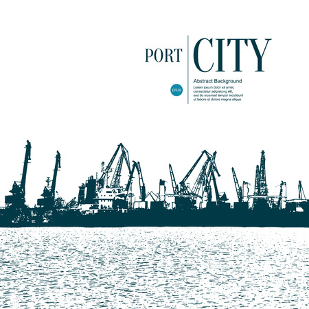 port: Abstract sketch stylized background. Cargo port Illustration