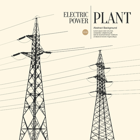 power station: Abstract sketch stylized background. Electric power plant Illustration
