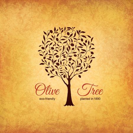 arboles frutales: Etiqueta de oliva, dise�o de logotipos. Olivo