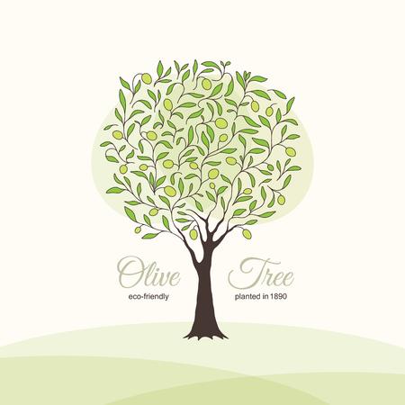 tree logo: Olive label, logo design. Olive tree