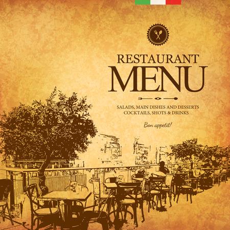 Retro design menu restauracji. Z szkic zdjęć