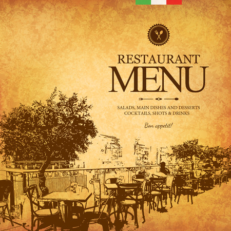 menu: Retro restaurant menu design. With a sketch pictures