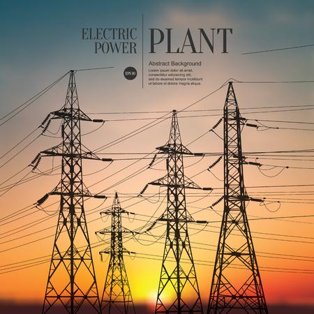 redes electricas: Resumen boceto fondo estilizado. Planta de energía eléctrica