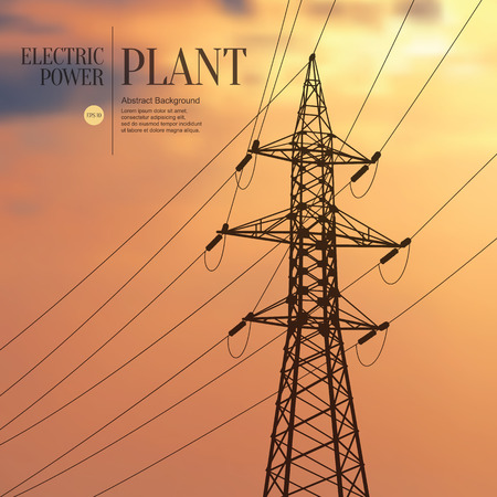 transmission line: Abstract sketch stylized background. Electric power plant Illustration