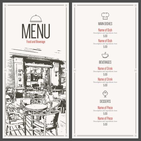 bistro cafe: Retro restaurant menu design. With a sketch pictures