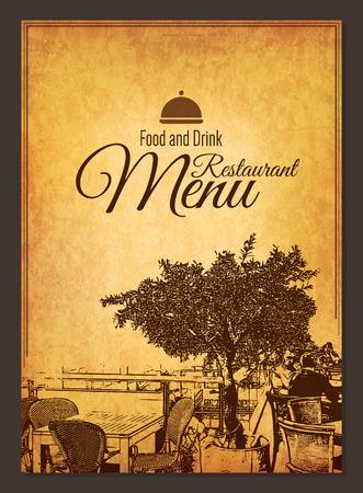 retro restaurant: Retro restaurant menu design. With a sketch pictures