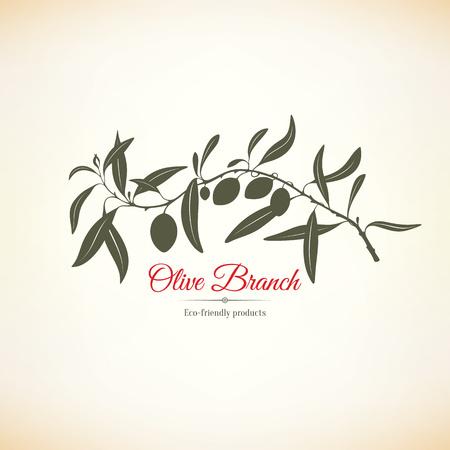 arboles frutales: etiqueta de oliva, el dise�o del logotipo. Rama de olivo