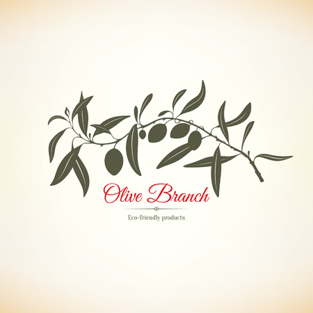 tree illustration: Olive label, logo design. Olive branch