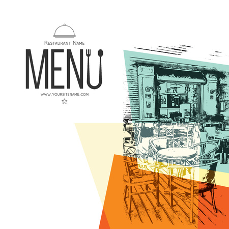 レトロなレストラン メニュー デザイン。スケッチ写真付き