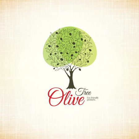 fruit tree: Olive label, logo design. Olive tree