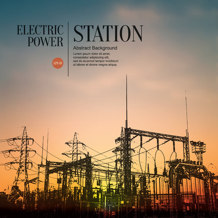 Abstract sketch stylized background. Electric power station Vectores