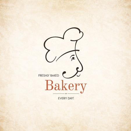 Vintage logotype for bakery with baker silhouette Illustration