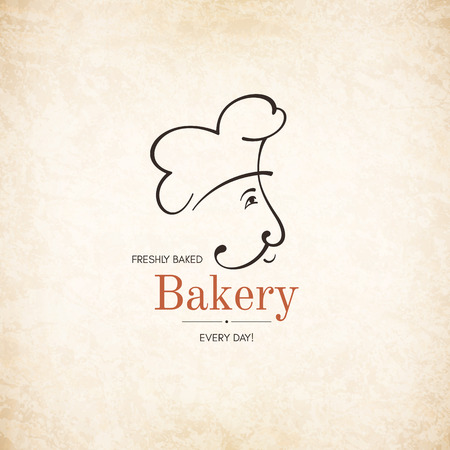 Vintage logotype for bakery with baker silhouette Ilustracja