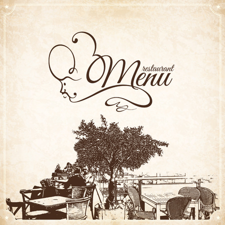 coffeehouse: Retro restaurant menu design. With a sketch pictures