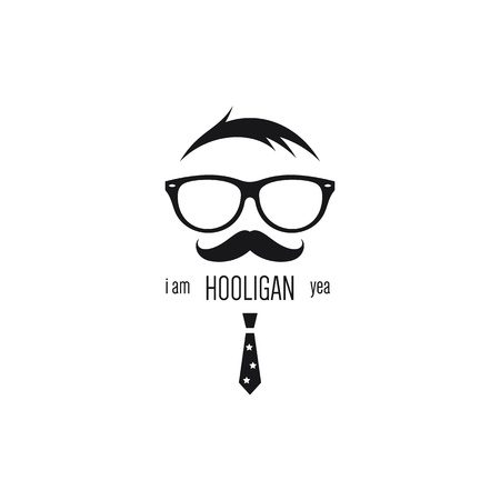 hooligan: Icon of hooligan with sunglasses, mustache and tie Illustration